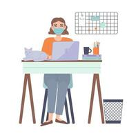 Girl sitting with laptop at home with protective face mask leisure time at home Home office Working at homefreelance lockdown remote workonline educationquarantine covid 19 concept Stock vector illustration in flat cartoon style isolated on white
