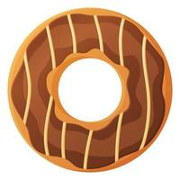 Bright doughnut with chokolate glaze and caramel No diet day symbol unhealthy food sweet fastfood sugar snack extra calories concept Stock vector illustration isolated on white background in cartoon style