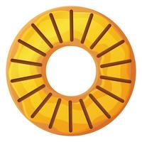 Bright doughnut with yellow glaze and mango No diet day symbol unhealthy food sweet fastfood sugar snack extra calories concept Stock vector illustration isolated on white background in cartoon style