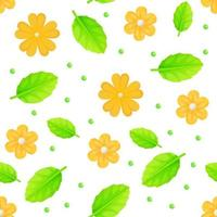 Yellow calendula spring flowers seamless pattern Can be used as easter hunt element for web banners posters and web pages Stock vector illustration in cartoon realistic style