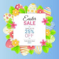 Square Easter sale banner with eggs lives and flowers Spring season promotion discount flayer special offer typography template concept Stock vector illustration in cartoon realistic style
