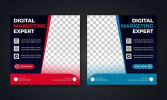 Flyer or social media post template business marketing themed vector