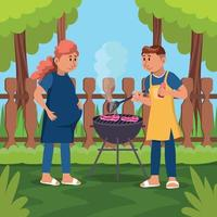 Family Barbecue Party vector