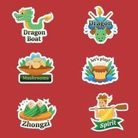 Dragon Boat Festival sticker vector