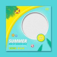 Summer sale promotion square banner template vector