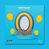 Digital birthday invitations for a social media post template vector