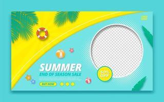 Summer sale promotion web banner template vector