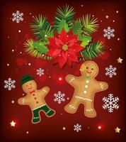 christmas poster with ginger cookies and decoration vector