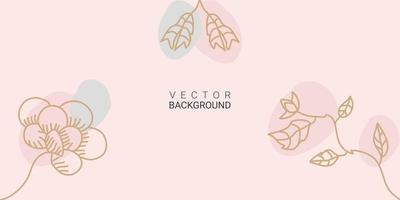 minimal abstract background in pastel color with flowers plant and tropical summer leaf vector