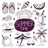 Summer Time Holiday Doodles Icon Set vector