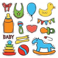 Set of hand drawn baby and newborn doodle for icon banner Cartoon sketch style doodle with baby girl and boy toy food ball balloon milk bottle birthday elements Vector illustration