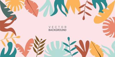 Colorful background vector illustration in simple flat style plants floral leaves backdrop for greeting cards posters banners and placards