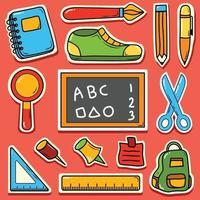 Back to school cute cartoon hand drawn doodle icon sticker vector