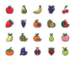 Fruit Filled Outline Icon vector