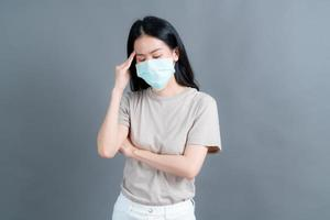 Asian woman wearing medical face mask protects filter dust and COVID 19 photo