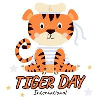 International Tiger Day July 29 Cute  tiger  matoros hat with ribbons vector