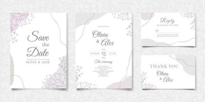 Set of abstract wedding invitation cards in modern design vector