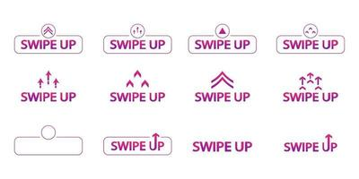 Swipe up Set of color swipe up icons vector