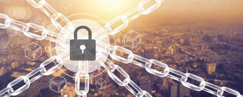 Blockchain connecting lines technology and cybersecurity concept, fintech network and social digital modern photo