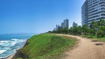 Palaces overlooking Pacific Ocean in Lima Peru photo