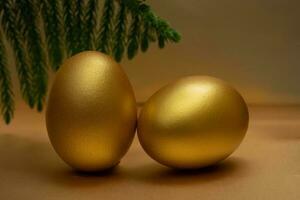 2 gold egg on golden background photo