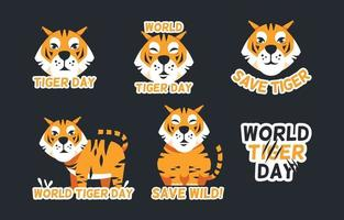 Tiger Day Activism Stickers Collection vector