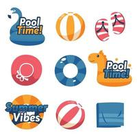 Summer Activity Swimming Label Sticker Collection vector