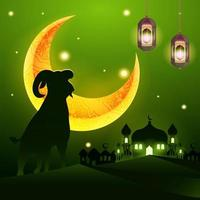 Eid Adha background with mosque and goat silhouette vector