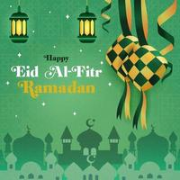 eid al fitr ramadan ketupat ilustración vector