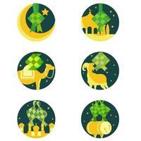 Various Ketupat icons for Ramadan vector