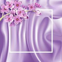 Fondo de satén lila morado con flores lilas realistas vector