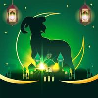Eid Adha background with dramatic goat and mosque silhouette vector
