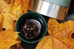 termo verde taza de acero inoxidable en hojas de otoño foto