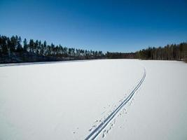 Cross country ski tracks photo