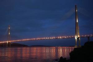 Vladivostok Russian bridge Night photos on a long exposure