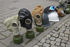 Gas masks of second world war displayed on street for tourists as souvenir photo