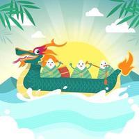Cute Rice Cake Ride Dragon Boat vector