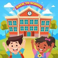 Happy Kids in Front of School vector