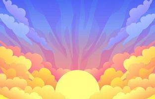 Sunset Landscape Background vector