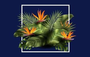 Realistic Tropical Plant and Flowers Background vector