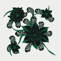 Folk floral art print  Flowers abstract art  poster vector