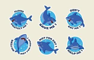 Shark Protection Sticker Set vector