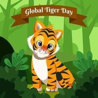 Cute Baby Tiger in the Rain Forest vector