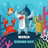 Sea Creatures Characters Celebrate World Oceans Day vector