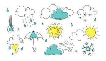 Weather icon in line art One line style forecast illustration continuous line art outline Cloud Sun thunder rain snowflake wind Vector illustration