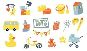 Toys doodle icons in Flat style Baby and kids toy Icons for baby shop type of toys Flat design vector