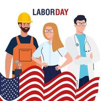 labor day poster with people of different occupations and usa flag vector