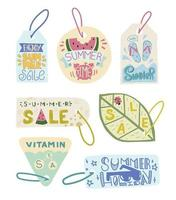 Summer sale label Enjoy Summer tag Labels summer time and holiday Tags promotion Doodle illustration postcard and retail vector