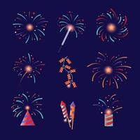 Colourful Firework Icon Collection vector