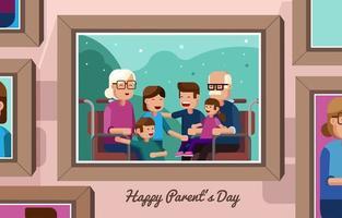 Portrait of Grand Parent and Grand Children Concept vector